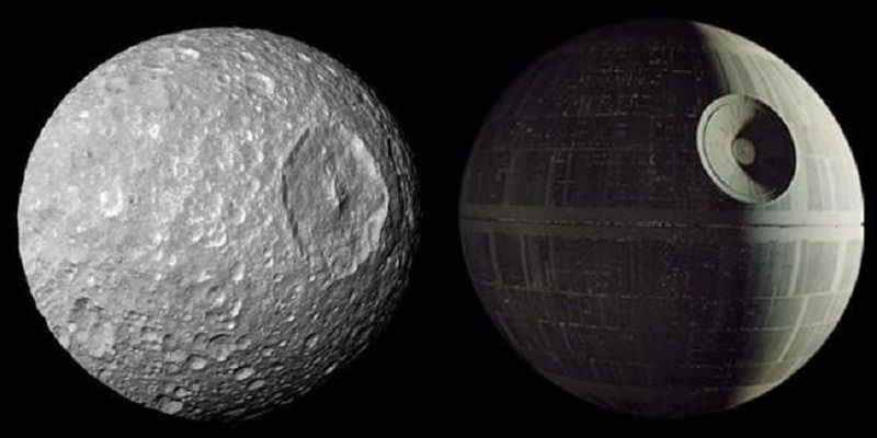 a side by side shows the similarities between mimas and the death star ef531c6d3d29d7400baa8b8cce7cc631 - Misteri Objek Alam Semesta