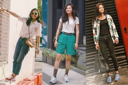 10 Inspirasi Mix and Match Outfit Casual ala Indah Permatasari