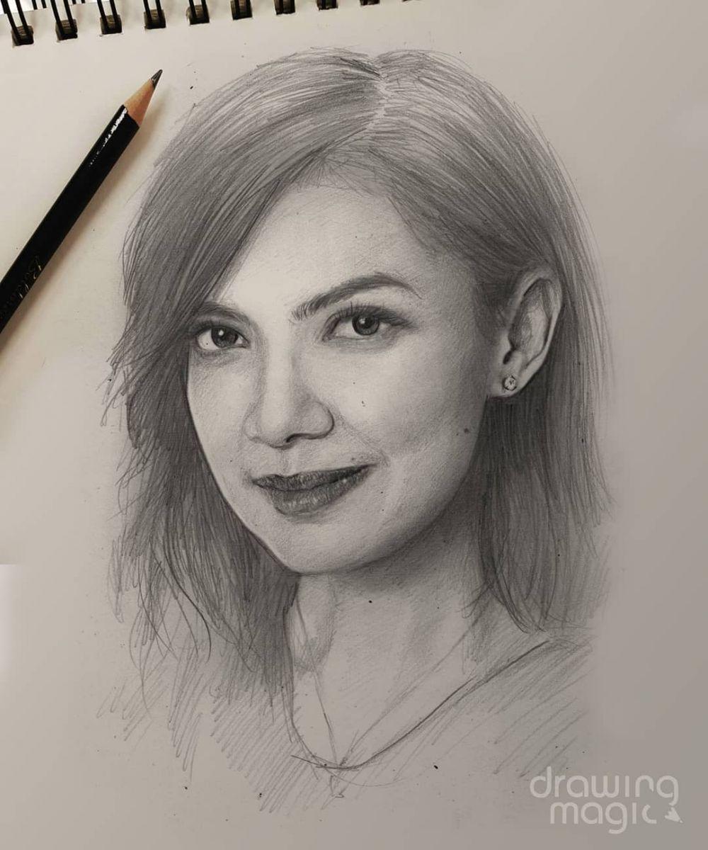 10 Potret Lukisan Wajah Kece Artis Dengan Sketsa Pensil