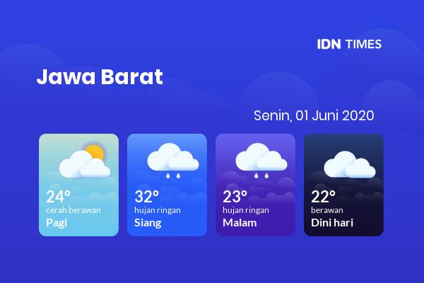 Cuaca Hari Ini 01 Juni 2020: Bekasi Hujan Ringan Siang Hari, Hujan Ringan Sore Hari