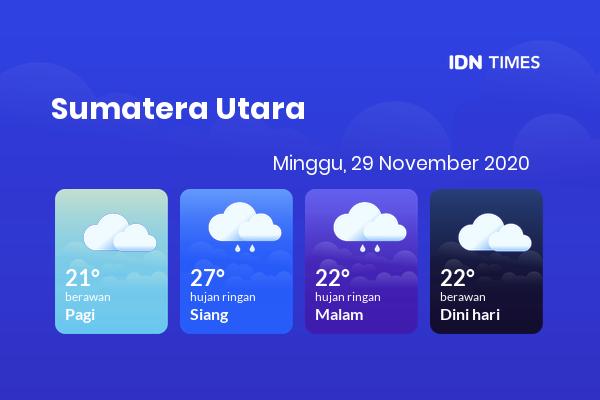 Cuaca Indonesia 29 November 2020: Sumatera Utara Hujan Ringan Siang Hari