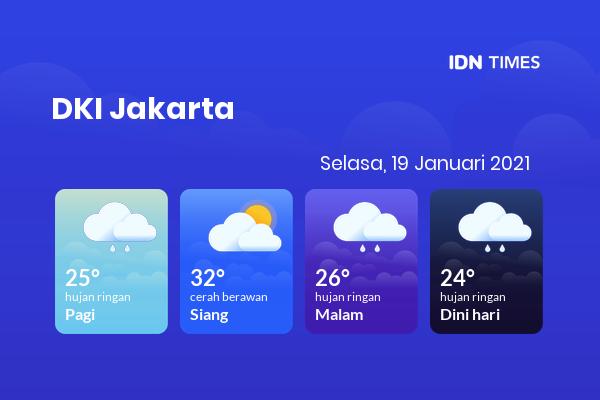 Cuaca Hari Ini 19 Januari 2021: Jakarta Hujan Ringan Pagi Hari, Hujan Ringan Sore Hari