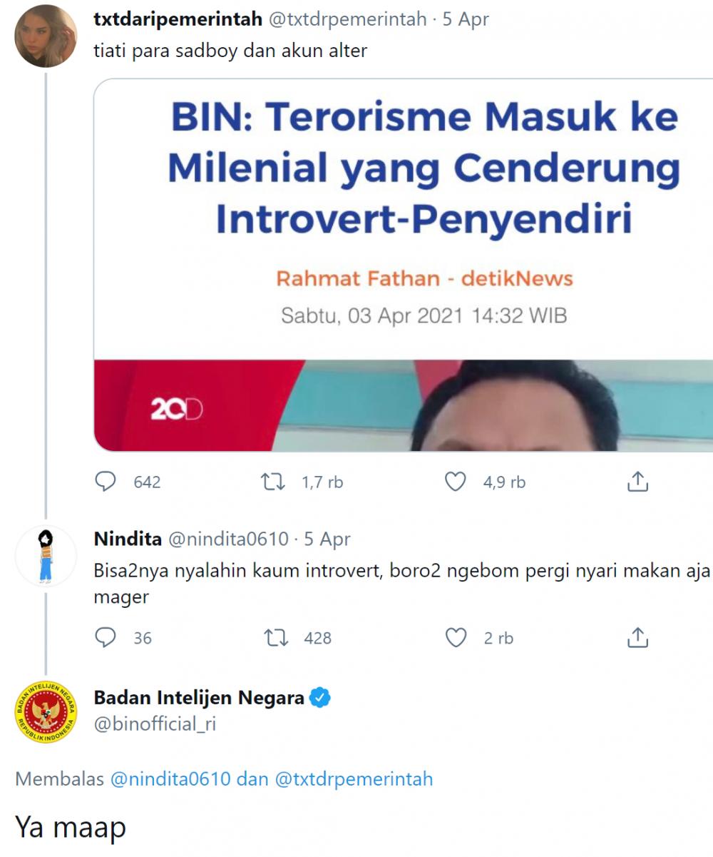 Sama Kocaknya dengan Gerindra, 10 Cuitan Twitter BIN yang Bikin Ngakak