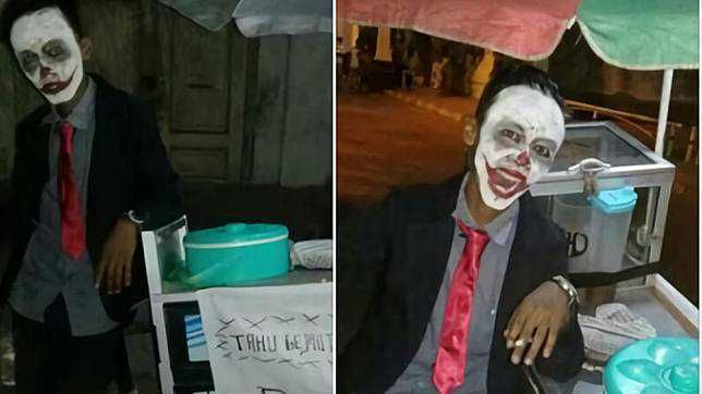 10 Foto Lucu Kostum Unik Pedagang Keliling, Ada Pocong hingga Joker