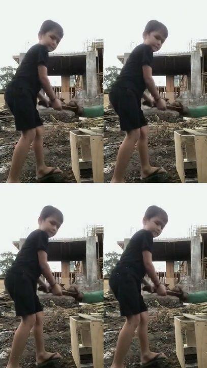 9 Aksi El Anak Jessica Iskandar Bantu Kerja Tukang Bangunan