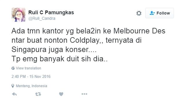 Reaksi Netizen Setelah Tahu Coldplay Tidak Datang ke Indonesia