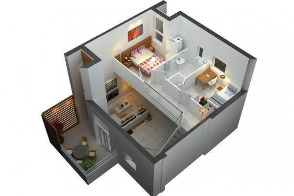 21 Desain Unik Rumah Mungil 2 Lantai Buat Keluarga Baru