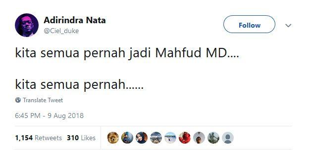 10 Cuitan Kocak Netizen Setelah Mahfud MD Batal Jadi Cawapres Jokowi