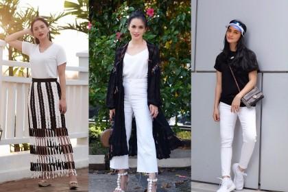 Bisa Ditiru, 9 Inspirasi Outfit Bernuansa Monokrom ala Ririn Ekawati