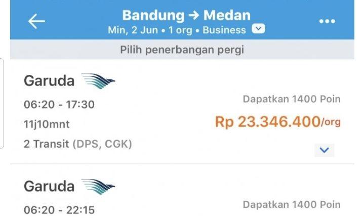 Viral Tiket Bandung-Medan Rp21 Juta, Ini Respons Garuda Indonesia
