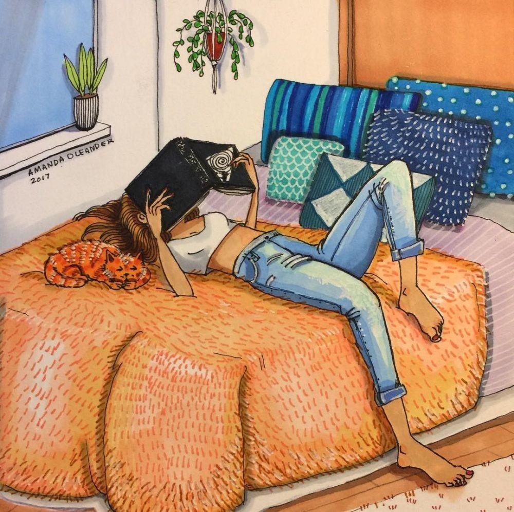 Sisi Lain Cewek Saat Sendiri di Rumah Tergambar Dalam 12 Ilustrasi Ini