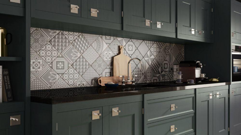 10 Desain Dapur dengan Keramik Motif, Area Masak Jadi Lebih Estetis!