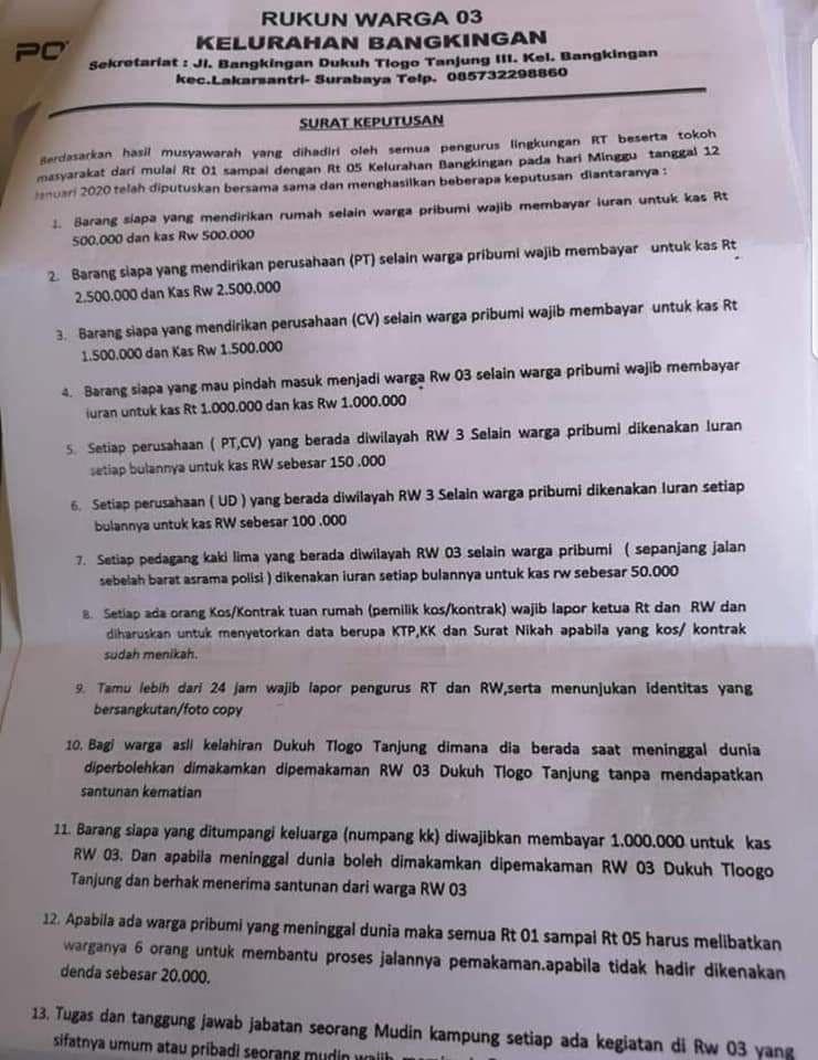 Viral Surat RW untuk Pribumi dan Non Pribumi, Ini Kata Pemkot Surabaya