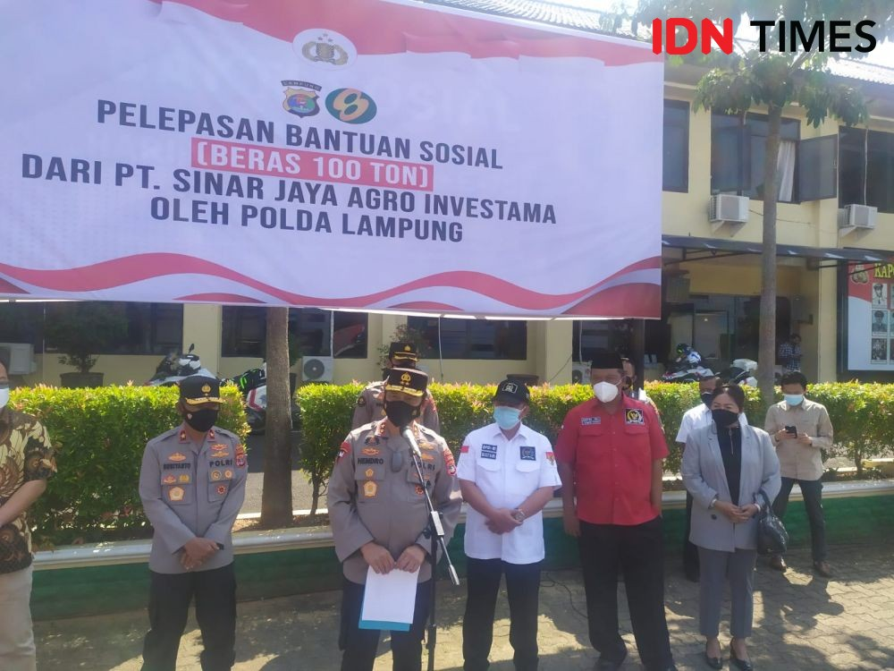 PPKM Level 4 dan 3, Polda Lampung Terima Bantuan 100 Ton Beras